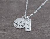 Husband and Wife Necklace - Wedding Anniversary Necklace - Hand Stamped Wedding Date Jewelry