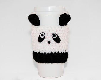 Panda Coffee Cozy- Crochet Coffee Cozy- Coffee Cozy- Animal Coffee Cozy- Blank And White-Coffee Cup Cover