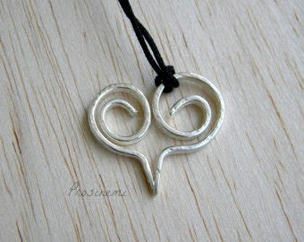 Silver heart necklace, heart pendant, hammered silver heart, for her