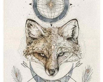 Fox Print - 11 x14 inch reproduction or original art