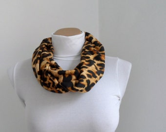 Leopard Scarf, Infinity Scarf, Loop Scarf, Circle Scarf, Leopard Print Scarf, Gift under 25