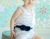 Sash & Headband Set  - Navy Blue Chiffon Satin Pearl Rhinestone - Baby Toddler Flower Girl Bridal Wedding