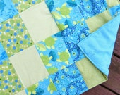 """Green Sea Turtle Envy Flannel Lap-Sized Quillow Blanket - 42"""" x 70"""" - The quilt that folds into a pillow"""