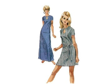 Retro Mod Groovy Casual Day Dress 70s Simplicity Sewing Pattern Mini Maxi Pullover Keyhole Neck Easy to Sew Bust 32
