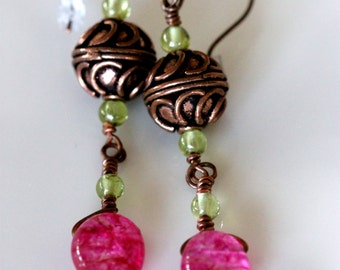 colorful quartz earrings w/ peridots and antiqued copper beads, handmade jewelry by girlthree