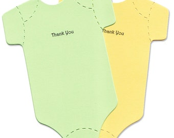 Baby Thank-You Cards - Green and Yellow Baby Rompers - Thank You Baby Shower Cards