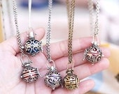 Maternity angel caller pendant Pregnancy necklace Harmony ball FEATHER Ethnic box Indian silver gold chime Sound wishing pendant