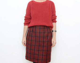 Vintage red tartan plaid mini 90s grunge wool skirt