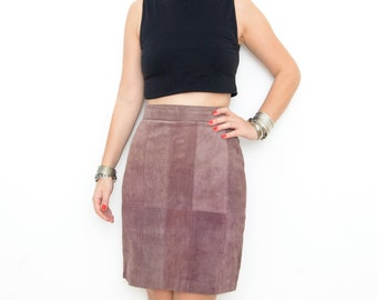 Vintage suede patch rose red pencil high waist mini skirt XS S