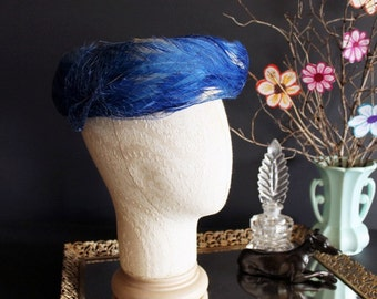 Vintage Ladies Hat Blue Feather Birdcage Netting
