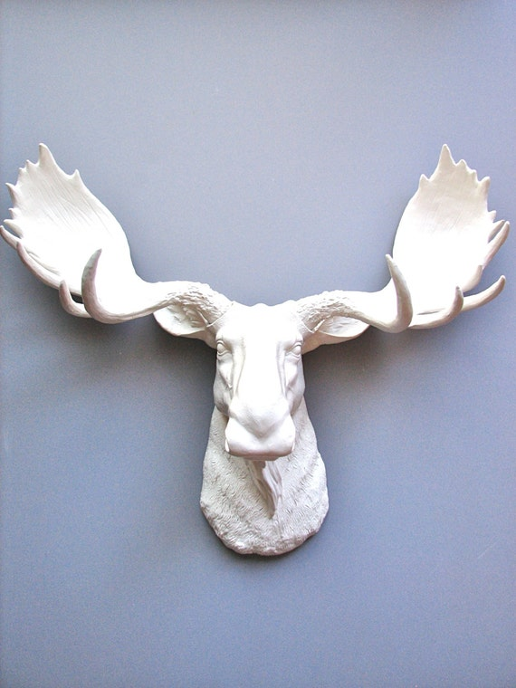 SALE! Faux Taxidermy Moose Head Wall Hanging Wall Decor Home Decor: Max the Moose in white / faux taxidermie / faux moose / fake moose /