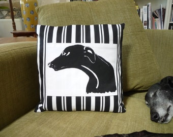 Black Greyhound Cushion - hand pulled screen print panel on a black butcher stripe ground