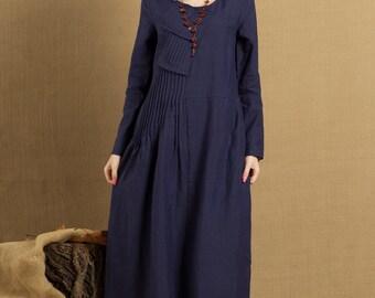 Pleated Linen Dress in blue / Long linen winter dress / maxi shirt dress - custom