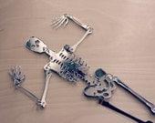 Mirror Bones - Jointed Silver Mirrored Laser Cut Skeleton Halloween Decor