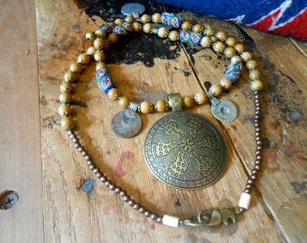 Medallion Necklace Boho Inspired Old World Old Coins Tribal Brass Blue Honey Jasper Gift Trending Colors