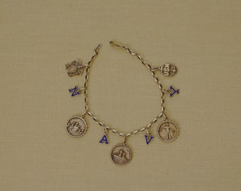 Sterling Silver Enamel United States NAVY Charm Bracelet 1930s Vintage Military Jewelry