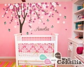 """Baby Nursery Wall Decals Cherry Blossom Tree Wall Decal Tree Decal Butterfly Decal Kids Room Mural Decor Large: approx 113"""" x 93"""" - KC023"""
