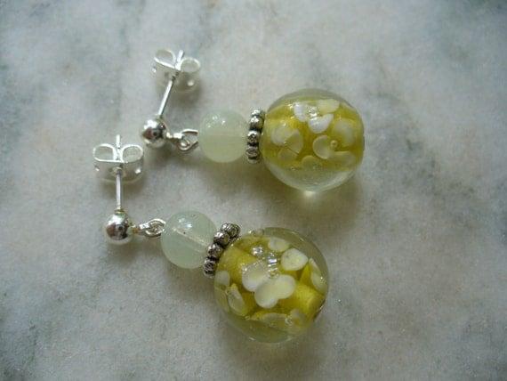 RESERVED FOR DARLENE Summer Yellow Flower Dangle Leverback Earrings - Summer Fashion
