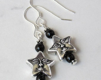 Celestial Happy Star Face Charm Earrings with Jet Black Czech Glass Beads - Sterling Silver Earwires - Metaphysical
