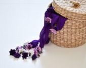 Crochet Silk Scarf Necklace, Purple Flowers Oya Silk Foulard Beaded Accessories Women Beadwork Crochet ReddApple, Fast Delivery