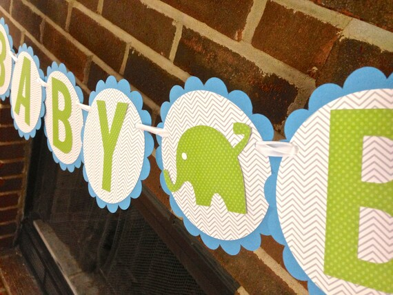 Items similar to elephant baby shower banner elephant for Welcome home baby shower decorations