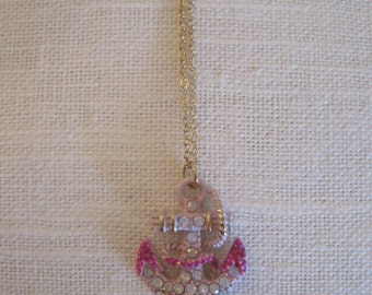Pink & Gold Rhinestone Anchor Necklace - Rhinestone Enamel Anchor Necklace - Crystal Anchor Rope Necklace - Nautical Jewelry - Pink Anchor