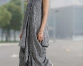 Loose-Fitting Linen Dress - Grey Cool V-Neck Sleeveless Vest Top Comfortable Casual Womens Dress Midi Length (C257)