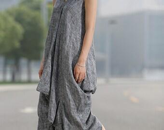 Loose-Fitting Linen Dress - Lagenlook Grey Cool V-Neck Sleeveless Vest Top Comfortable Casual Womens Dress Midi Length (C257)