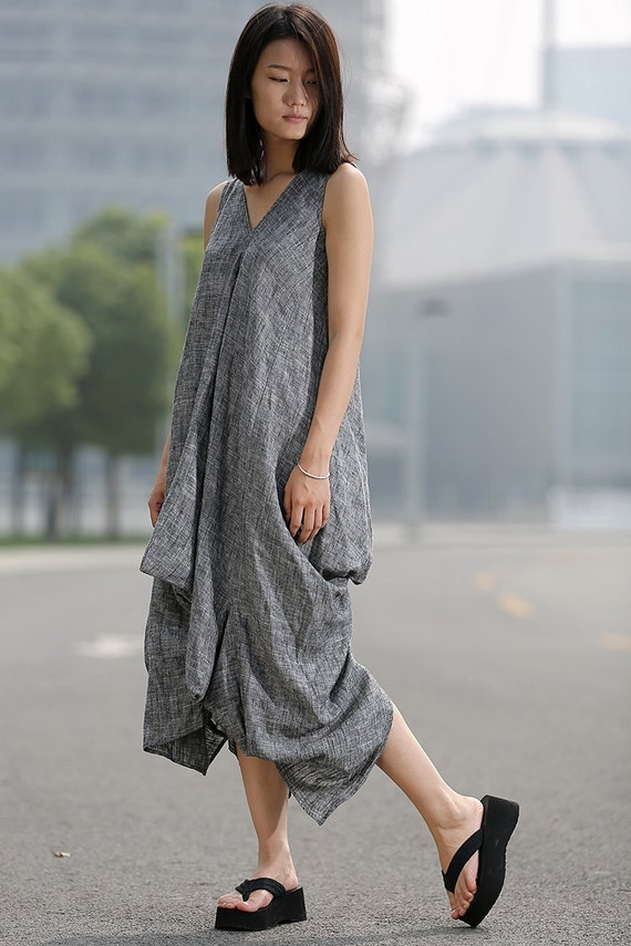 Loose-Fitting Linen Dress - Lagenlook Grey Cool V-Neck Sleeveless Vest Top Comfortable Casual Womens Dress Midi Length (C257)