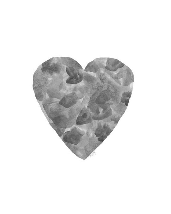 Abstract Black and White Heart Print, 8x10