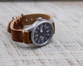 Leather Watch Strap Horween Leather Rust Brushed Hardware
