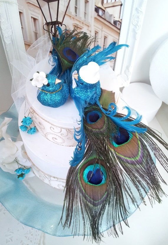 Wedding Cake Topper Peacock Style Blue Turquoise Colors