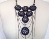Spiderweb - Goth steampunk necklace with resin shell cabochons and black chains, bead embroidered