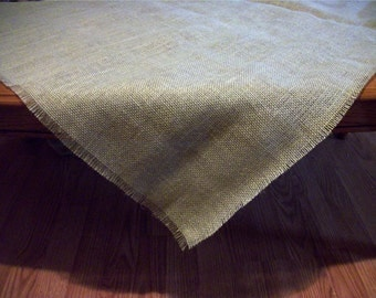 Burlap Tablecloth Rustic Wedding Overlay Tablecloth 36 Inch Square Frayed Natural Jute Burlap