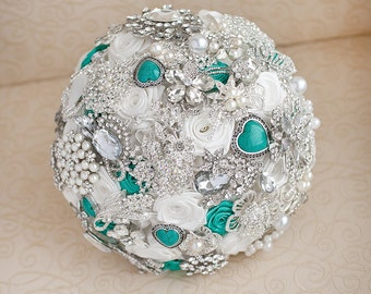 Brooch bouquet. White and Mint wedding brooch bouquet, Jeweled Bouquet. Made upon request