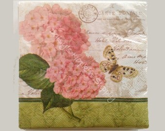 Flower Paper Napkins for Decoupage Pink Hydrangeas Butterfly French Script CARTE POSTALE 2 (two) LUNCH size paper napkin for crafts