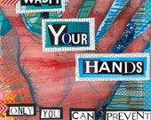Collage Print - WASH YOUR HANDS - Only You can Prevent the Zombie Apocalypse - 8x10inches -  Art from Allie Kelley