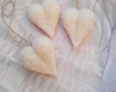 3 Wool Hearts, Decoration, Needle Felted Hearts
