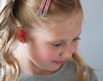 Girls Rhinestone Hair Clips, Pink and Purple Bling Clips - PAIR - Gift for Girls, Under 5, Easter Basket Stuffer, Rhinestones