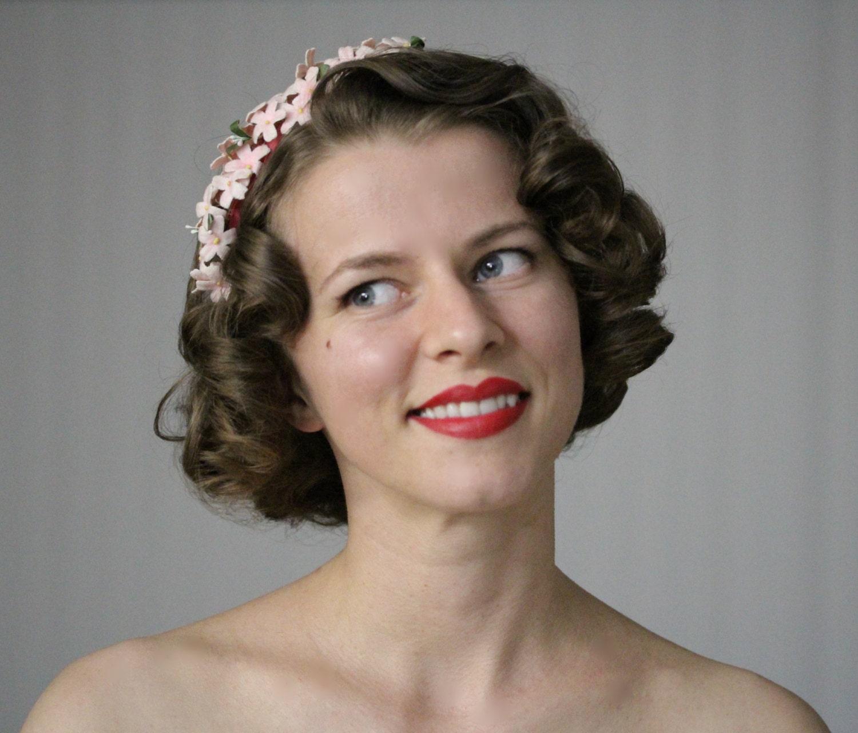 1940s Hair Accessory Pink Flower Headband Velvet Floral