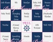 Pink Nautical Baby Shower Game, Girl Nautical Baby Shower Bingo,  Pink Nautical Theme Baby Shower Bingo Game, Printable Girl Nautical Theme