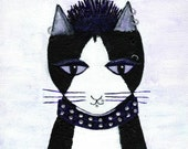 Cat Print - Punk Cat - Animal Print - Black and White Cat Art - Humourous Illustration - Cat Love - Cat Home Decor -  'This Is My Territory'