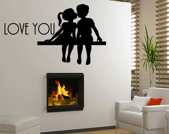 Wall Quotes I Love You Vinyl Wall Decal Quote Removable Wall Sticker Home Decor (360)