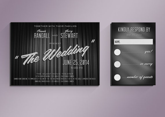 Items Similar To DIY Retro Movie Title Wedding Invitation Suite On Etsy