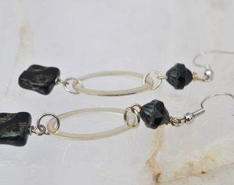 Black Czech glass earrings with silver tone hoops