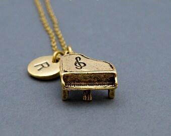 Piano necklace, piano charm, gold piano charm, music charm, gold piano jewelry, initial necklace, gold piano pendant, personalized, monogram