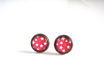 12mm Red White Star Earrings, Red White Star Stud Earrings, Red White Star Jewelry, Red Cabochon Earrings with White Stars Cute Star Jewelry
