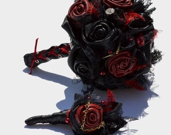 Black and Red Leather Gothic wedding bouquet