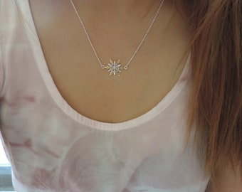 Two-Toned Snowflake Necklace • Sterling Silver with 18K Gold Snowflake Charm • Winter Wonderland Wedding Snowflake Christmas Necklace Gift