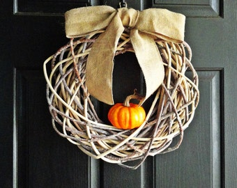 Fall Pumpkin Wreath, Geometric Wreath, Natural and Rustic Fall Wreath, Burlap and Pumpkin Wreath